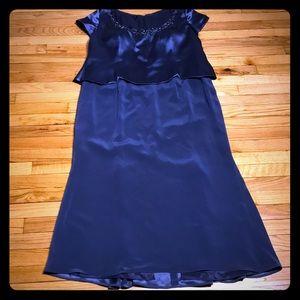 Evening Formal Full Length Dress Blue Embellished